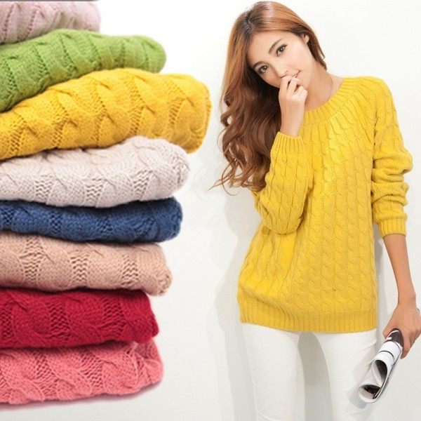 Twist Pattern Sweaters Women Autumn Winter Fashion Basic Pullover Female Jumpers Long Sleeve Casual Knitted