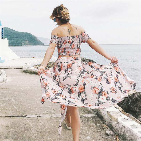 Two Piece Summer Outfit Cropped Top And Skirt Maxi Beach Style Dress Irregular Skirt Elastic Short Sleeve Tops Extra Image 2