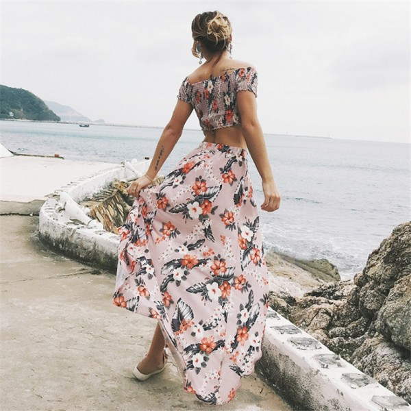 Two Piece Summer Outfit Cropped Top And Skirt Maxi Beach Style Dress Irregular Skirt Elastic Short Sleeve Tops Extra Image 5
