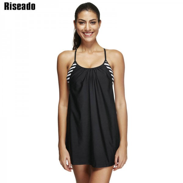Two Piece Swimsuit Tankini Striped Sports Swimsuit Swimming Dress