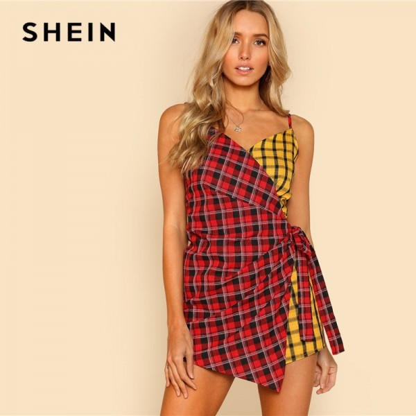Two Tone Plaid Wrap Cami Romper V Neck Spaghetti Strap Sleeveless Women Checked Suits Casual Cotton Romper Extra Image 2