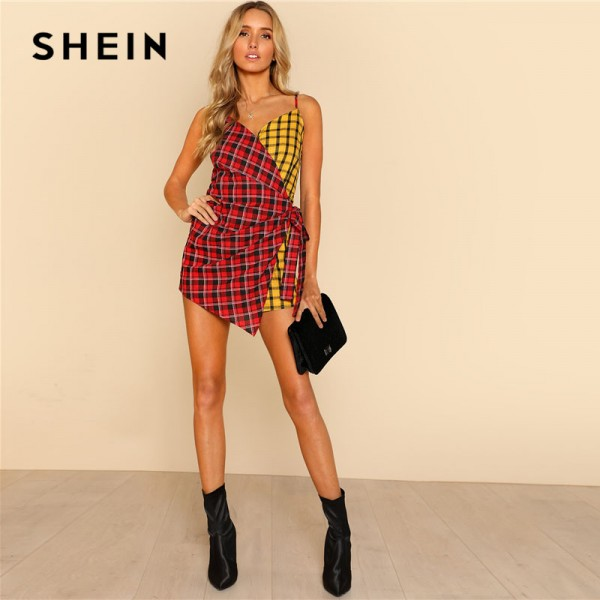Two Tone Plaid Wrap Cami Romper V Neck Spaghetti Strap Sleeveless Women Checked Suits Casual Cotton Romper Extra Image 3
