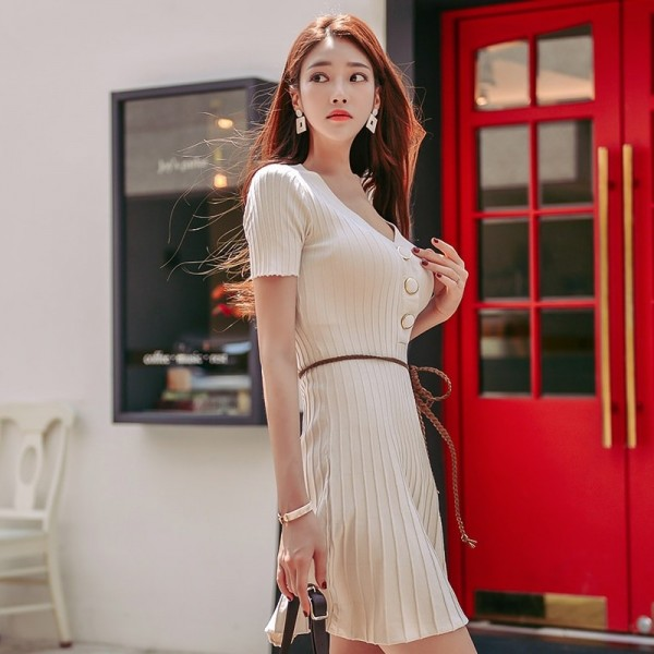 V Neck Buttons A Line Knitted Dress Sexy Short Sleeve Slim Waist Women Dress Elastic Autumn Spring vestidos femme Extra Image 2