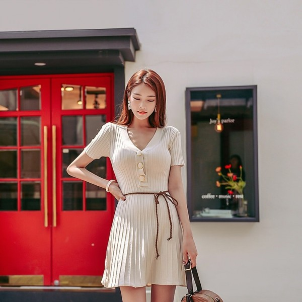 V Neck Buttons A Line Knitted Dress Sexy Short Sleeve Slim Waist Women Dress Elastic Autumn Spring vestidos femme Extra Image 3