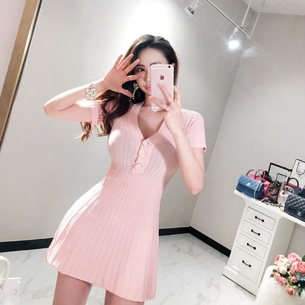 V Neck Buttons A Line Knitted Dress Sexy Short Sleeve Slim Waist Women Dress Elastic Autumn Spring vestidos femme Extra Image 4