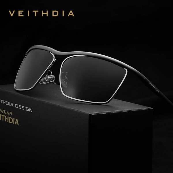 Veithdia Aluminium Magnesium Mens Sunglasses Polarized Mirror Polaroid UV400 Lens Trendy Mens Goggles