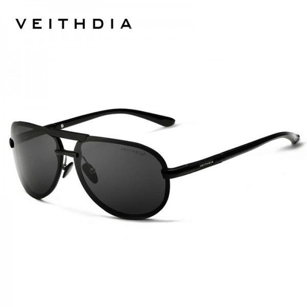 Veithdia Aluminium Mens Sunglasses Polarized Male Eyewear Unisex Adult Classic Pilot Aviator Full Black Extra Image 0
