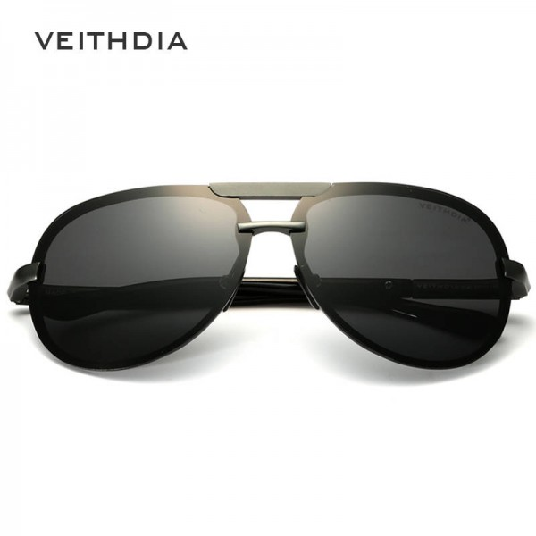 Veithdia Aluminium Mens Sunglasses Polarized Male Eyewear Unisex Adult Classic Pilot Aviator Full Black Extra Image 3