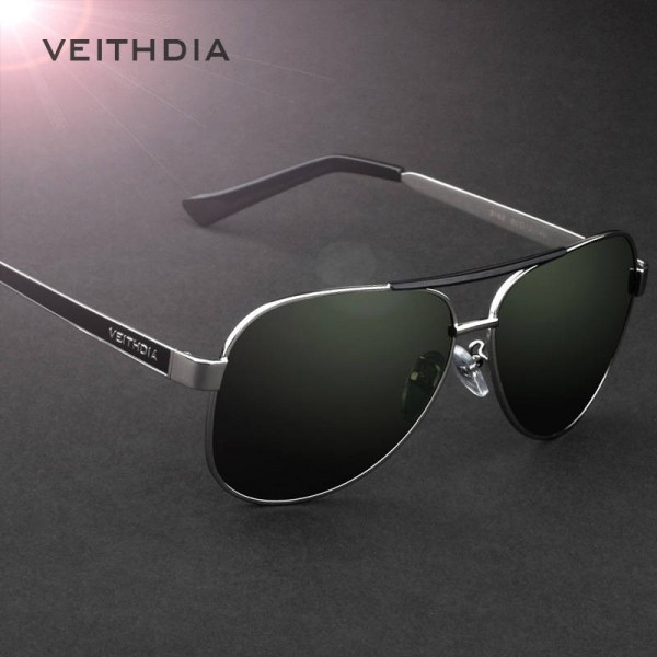 Veithdia Polarized Pilot Aviator Sunglasses For Men High Quality Green Mirror Eye Accessories For Boys Extra Image 1