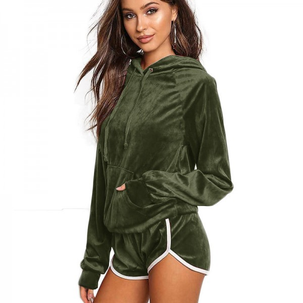 Velvet Women Sets Women Hoodies Shorts 2 Pieces 2019 Autumn Winter Long Sleeve Slim Pockets Hooded Tracksuit Extra Image 3
