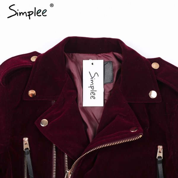Velvet zipper jacket coat women Cool wine red motorcycle jacket new fashion winter jacket women outerwear coats Extra Image 5