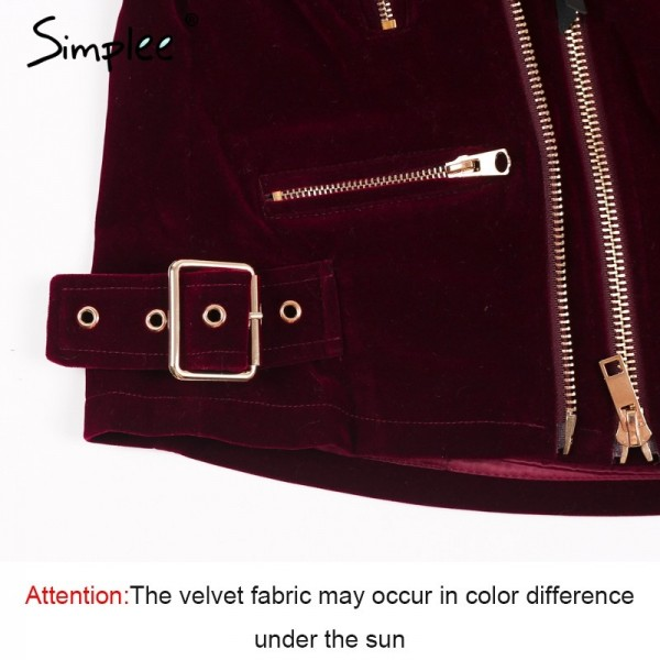 Velvet zipper jacket coat women Cool wine red motorcycle jacket new fashion winter jacket women outerwear coats Extra Image 6