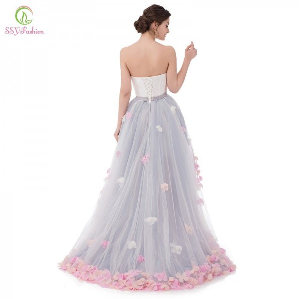 Vestidos Sexy Strapless Sleeveless Short Front Long Back Lace Flower Evening Dress Bride Banquet Formal Party Gowns Extra Image 2