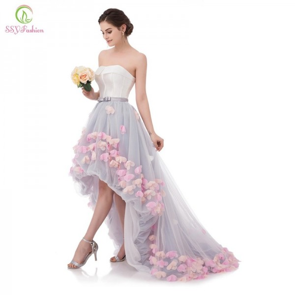 Vestidos Sexy Strapless Sleeveless Short Front Long Back Lace Flower Evening Dress Bride Banquet Formal Party Gowns Extra Image 3