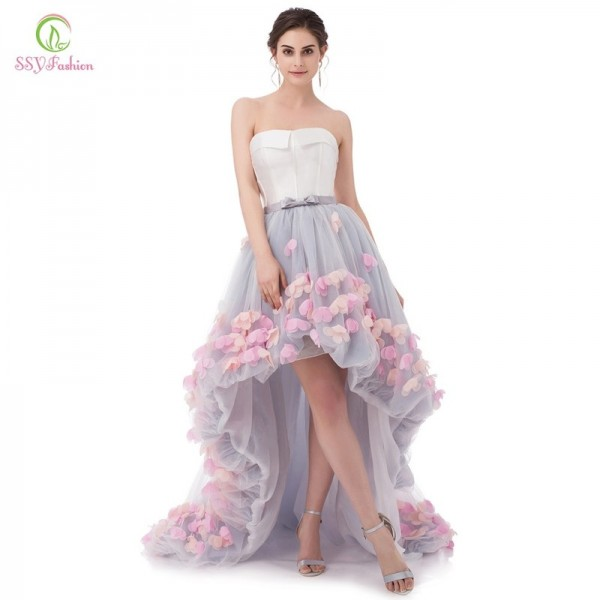 Vestidos Sexy Strapless Sleeveless Short Front Long Back Lace Flower Evening Dress Bride Banquet Formal Party Gowns Extra Image 4