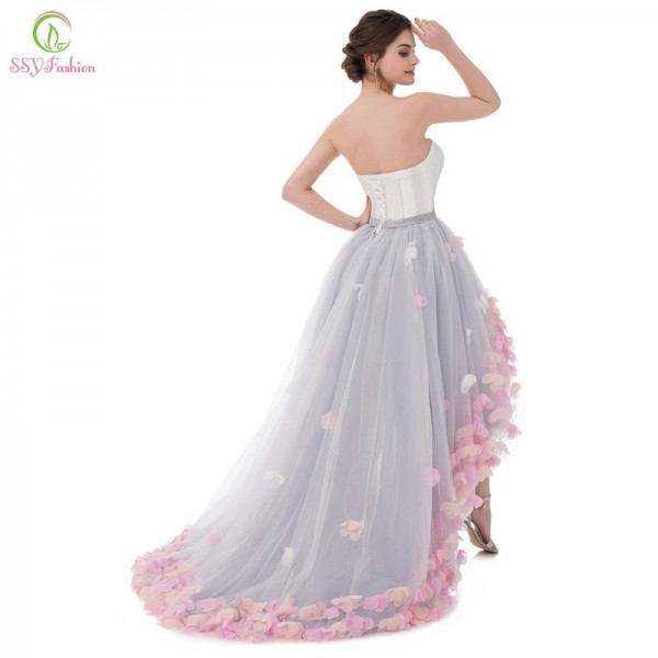 Vestidos Sexy Strapless Sleeveless Short Front Long Back Lace Flower Evening Dress Bride Banquet Formal Party Gowns Extra Image 5