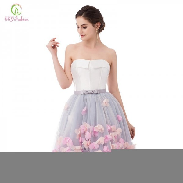 Vestidos Sexy Strapless Sleeveless Short Front Long Back Lace Flower Evening Dress Bride Banquet Formal Party Gowns Extra Image 6
