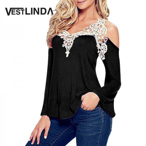 Vestlinda Lace Blouse Sexy Female Vintage Shirt Long Sleeve Tops Chinese Design Women Thumbnail