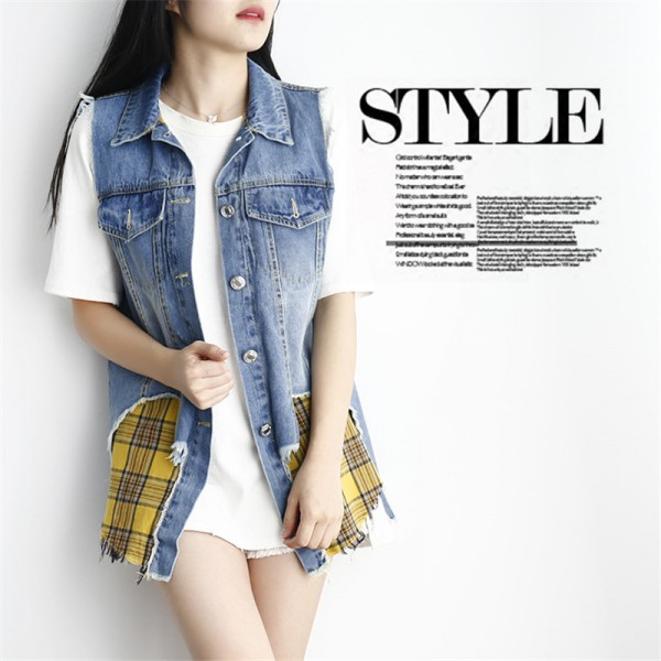 Vests Cardigan Fashion Casual 2 Piece Set Sleeveless Summer Denim Women Jacket Female Waistcoat Extra Image 2