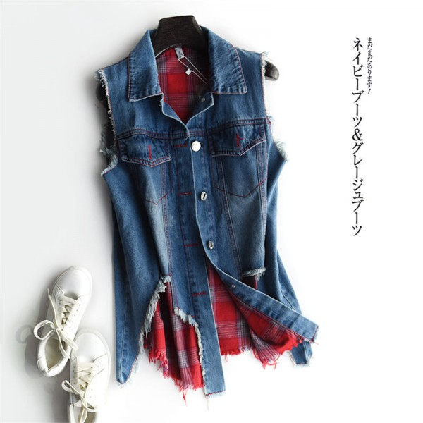Vests Cardigan Fashion Casual 2 Piece Set Sleeveless Summer Denim Women Jacket Female Waistcoat Extra Image 6
