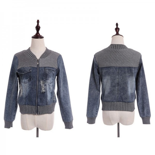 Vintage Fashion Knitted Patchwork Frayed Hole Denim Jacket Casual Ripped Jeans Long Sleeve Coat Female Outerwear Extra Image 4