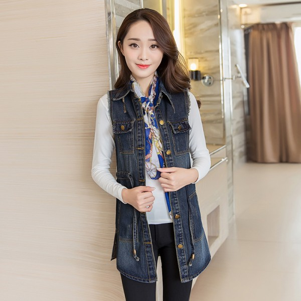 Vintage Fashion Summer Autumn Denim Jacket Sleeveless Cardigan Ladies Jeans Waistcoats New Arrival Spring Denim Vests Extra Image 2