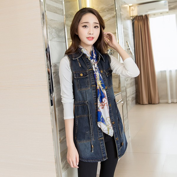 Vintage Fashion Summer Autumn Denim Jacket Sleeveless Cardigan Ladies Jeans Waistcoats New Arrival Spring Denim Vests Extra Image 3