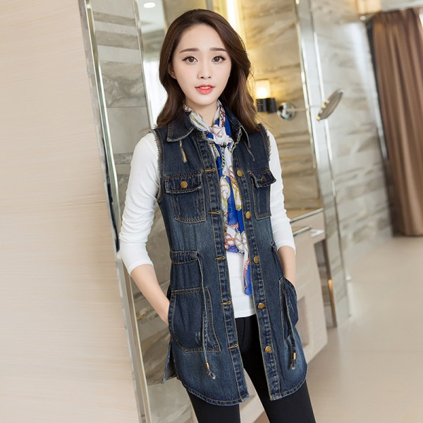 Vintage Fashion Summer Autumn Denim Jacket Sleeveless Cardigan Ladies Jeans Waistcoats New Arrival Spring Denim Vests Extra Image 5