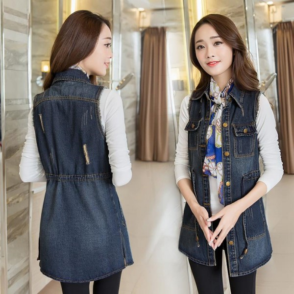 Vintage Fashion Summer Autumn Denim Jacket Sleeveless Cardigan Ladies Jeans Waistcoats New Arrival Spring Denim Vests Extra Image 6