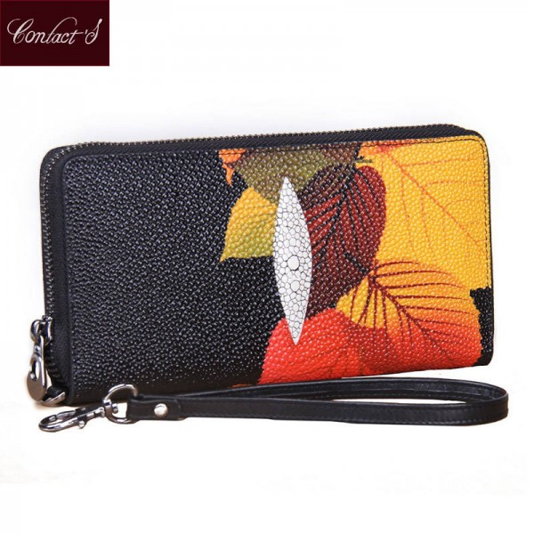 Vintage Floral Print Women Wallet Multi Function High Capacity Genuine Leather Phone Clutch Thumbnail