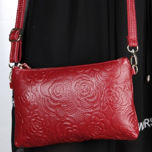 Vintage Genuine Leather Bags Women Messenger Bag Clutch Floral Embossed Bolsa Shoulder Bag Extra Image 2
