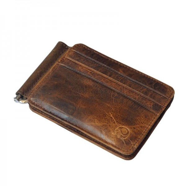Vintage Leather Wallet Brand Mens Money Clip Genuine Cow Leather Credit ID Holder for Men Retro Money Case Male Extra Image 2