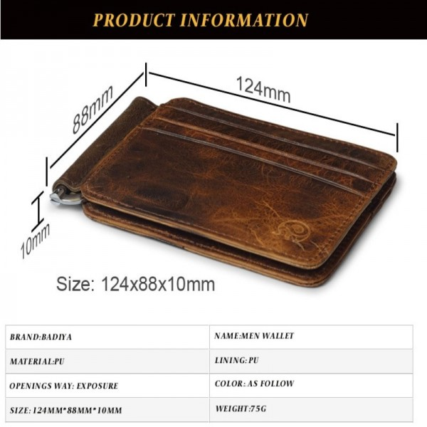 Vintage Leather Wallet Brand Mens Money Clip Genuine Cow Leather Credit ID Holder for Men Retro Money Case Male Extra Image 3
