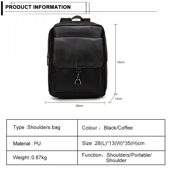Vintage Style Backpack Men Large Capacity Laptop Shoulder Bag PU Leather School Bags Zipper Casual Bags Travel Bag Male Extra Image 2