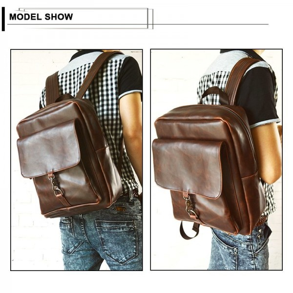 Vintage Style Backpack Men Large Capacity Laptop Shoulder Bag PU Leather School Bags Zipper Casual Bags Travel Bag Male Extra Image 4