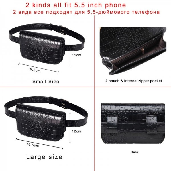 Vintage Waist Bag Women Alligator PU Leather Belt Bag Waist Pack Travel Belt Wallets Fanny Bags Ladies Fit Purse Extra Image 4