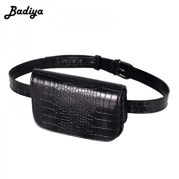 Vintage Waist Bag Women Alligator PU Leather Belt Bag Waist Pack Travel Belt Wallets Fanny Bags Ladies Fit Purse Extra Image 6