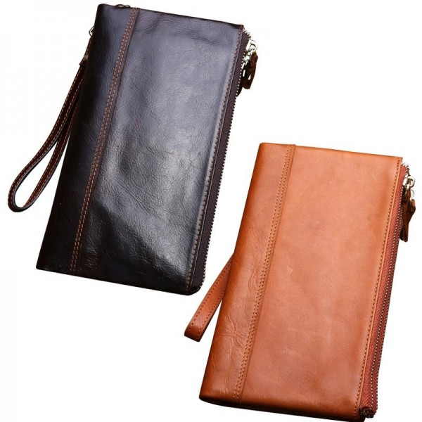 Vintage Wallet Genuine Leather Soft Clutch Double Zipper Long ID Card Holders Multifunction Luxury Business Purse Male