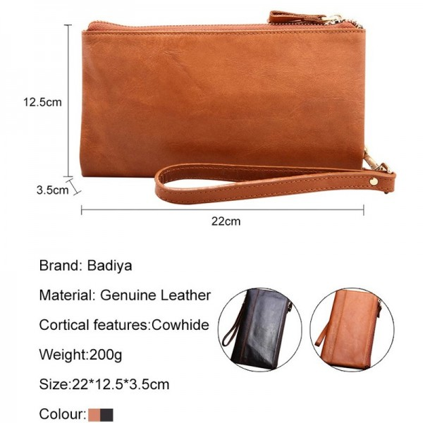 Vintage Wallet Genuine Leather Soft Clutch Double Zipper Long ID Card Holders Multifunction Luxury Business Purse Male Extra Image 3