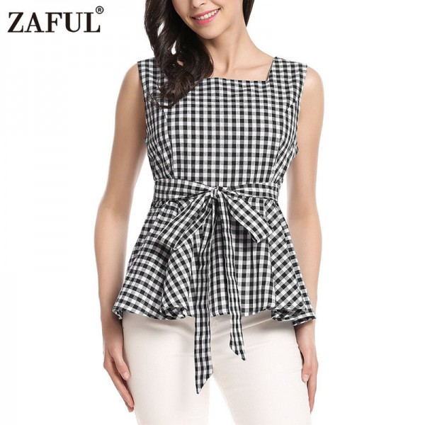 Vintage Woman Top Square Collar Sleeveless Elegant Style Center Back Zipper Closure Design Retro Vichy Plaid Top Extra Image 1