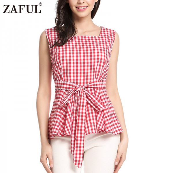 Vintage Woman Top Square Collar Sleeveless Elegant Style Center Back Zipper Closure Design Retro Vichy Plaid Top Extra Image 2