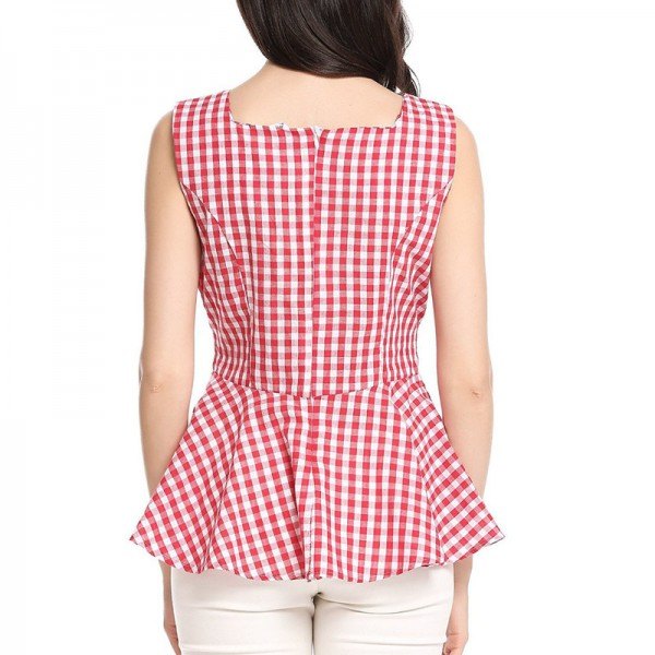 Vintage Woman Top Square Collar Sleeveless Elegant Style Center Back Zipper Closure Design Retro Vichy Plaid Top Extra Image 4