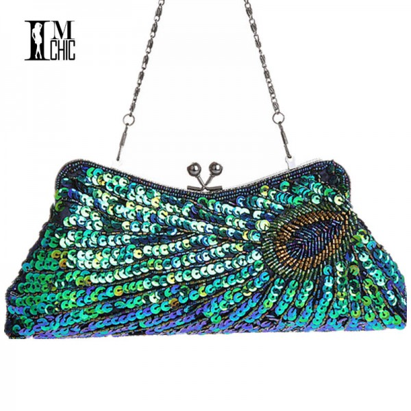 Vintage Women Clutch Bags Peacock Pattern Beaded Chain Mini Handbags Bridal Purse Luxury Wedding Clutch Thumbnail