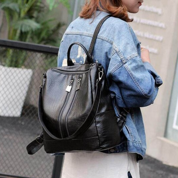 Vogue Star Alligator Backpacks High Quality Leather Bags For Ladies Student School Bags Female Shoulder Bags Extra Image 2
