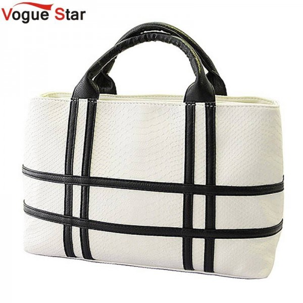 Vogue Star New Black And White Hit Color Pu Leather Shoulder Bags Crocodile Pattern Bags Women Thumbnail