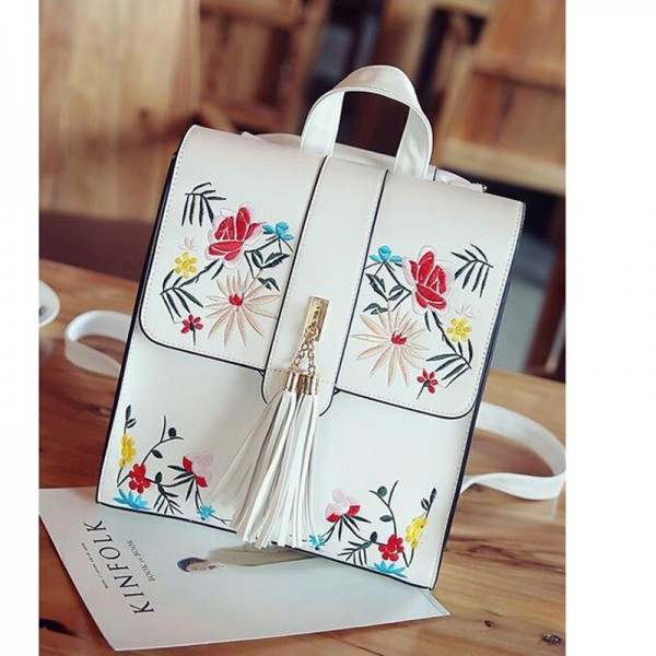 Vogue Star Pu Leather Backpacks Embroidered School Bags For Teenagers Casual Travel Bag Female Backpacks