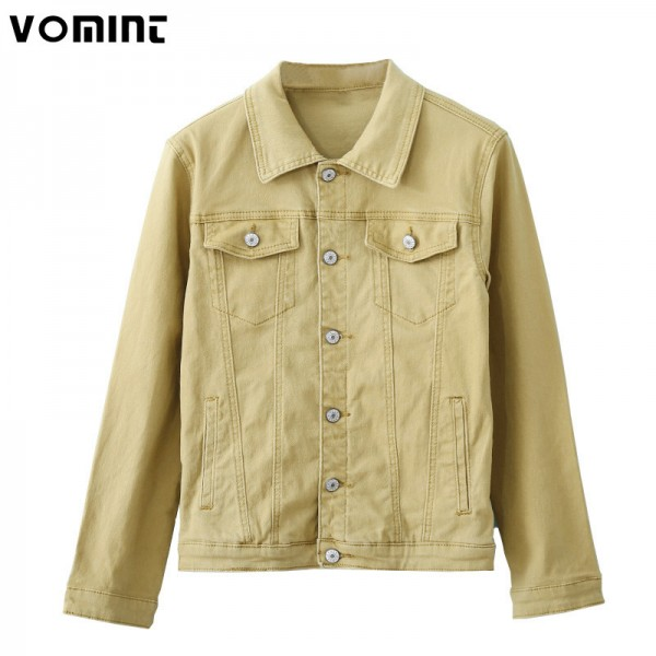 Vomint Autumn Mens Denim Jackets Multi Color Stretch Elasticity Fabric Washed Denim Streetwear Fashion Blue Yellow Extra Image 2