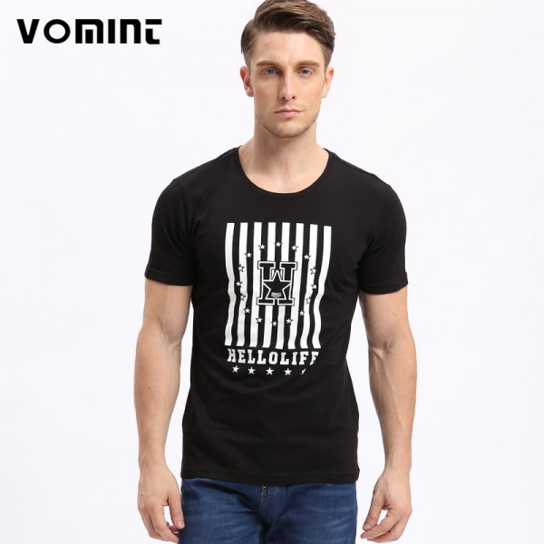 VOMINT Fashion Summer  Casual Men T shirts Printed Tshirt Casual Short Sleeve T shirt Men Tops Tees