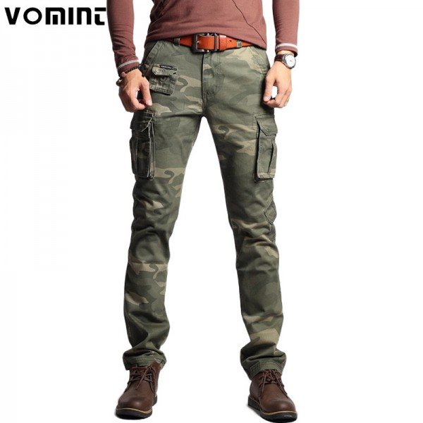 Vomint New Men Fashion Military Cargo Army Pants Slim Regular Straight Fit Cotton Multi Color Camouflage Green Yellow Extra Image 1