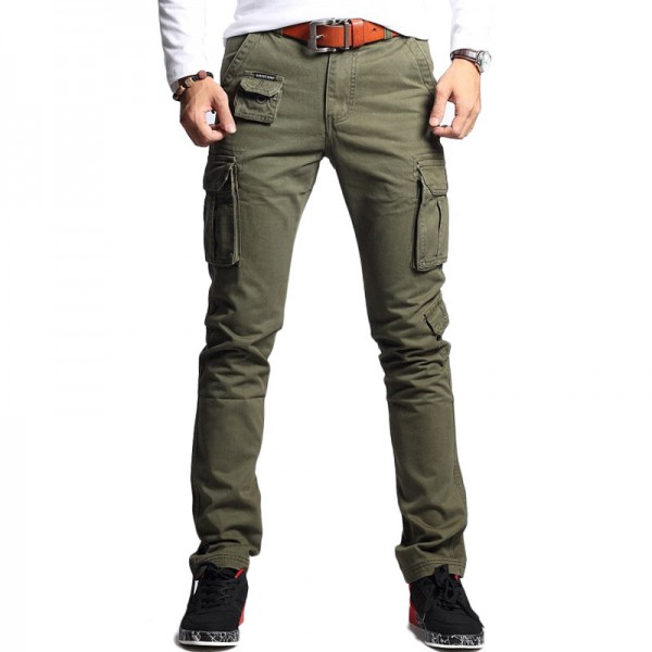 Vomint New Men Fashion Military Cargo Pants Slim Regular Straight Fit Cotton Multi Color Camouflage Green Yellow